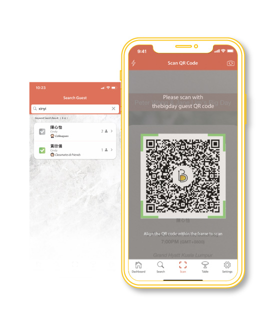 thebigday婚礼宾客管理 Scan and search guest name check-in